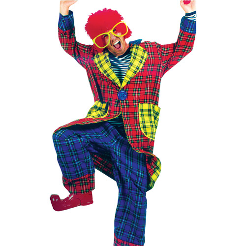 Plaid Pickles Clown Adult Halloween Costume - One Size 46-48