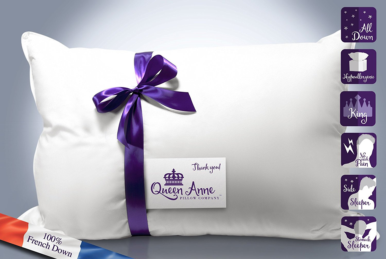 The Original Queen Anne Pillow French Goose Down Luxury Pillow Treat Yourself to Our... by Queen Anne Pillow Company