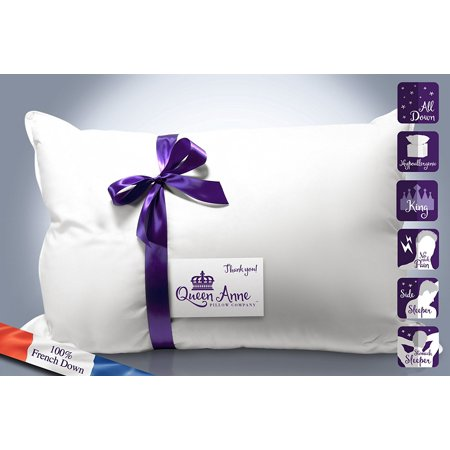The Original Queen Anne Pillow - French Goose Down Luxury Pillow - Treat Yourself to Our Family's Finest Pillow (King Medium Fill)