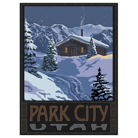 Park City Utah Winter Mountain Cabin Travel Art Print Poster by Paul A. Lanquist (9