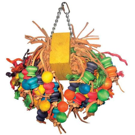 A&E Cage Co. Happy Beaks Medium Cluster with Hanging Wood Balls Bird Toy