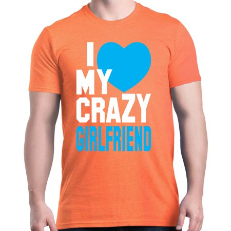 Shop4Ever Men's I Love My Crazy Girlfriend Matching Couples Graphic T-shirt