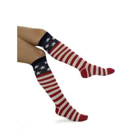 USA United States of America Flag Knee High (Flat Knee Sock)