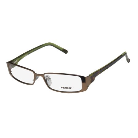 New Sting 4743 Mens/Womens Designer Full-Rim Bronze / Tortoise / Green Demo Lens Popular Shape Optical Frame Demo Lenses 53-15-140 Flexible Hinges (Sting Glasses Website)