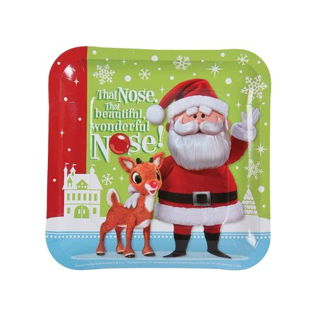 - IN-13781652 Rudolph the Red-Nosed Reindeer Square Paper Dinner Plates 8 Piece(s) 2PK