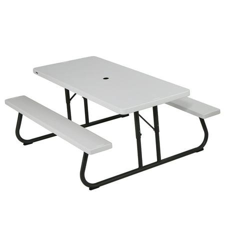 Sage Folding Picnic Table - Lifetime 6 foot Picnic Table, White Granite, 80215