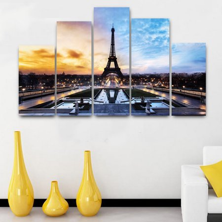 5 in 1 Modern Art Oil Paintings Eiffel Tower Canvas Print Unframed Pictures Home Wall Sticker Decor (Eiffel Tower Painting)