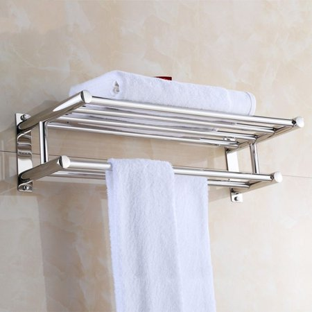 EECOO Stainless Steel Towel Rack Luxury Solid Polished Chrome Towel Rack Towel Wall Shelf Bathroom ()