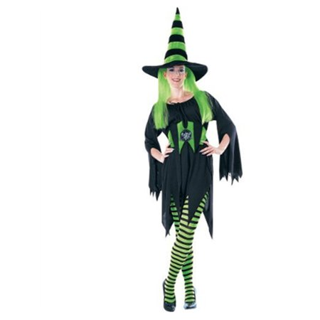 Womens  Black and Green Striped Wicked Witch Costume Tights - Green Black Striped Tights