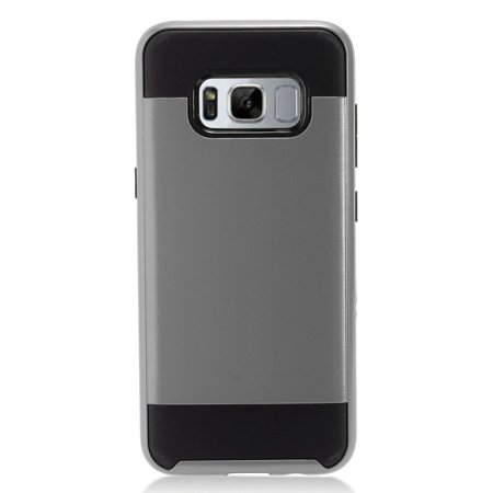Samsung Galaxy S8+ Case, Samsung Galaxy S8 Plus Case, by Insten Brushed Metal Hybrid Hard Chrome Dual Layer Cover Phone Case For Samsung Galaxy S8+ S8