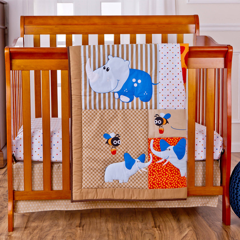 Dream On Me Jungle Babies Reversible 2-Piece Portable Crib Bedding Set
