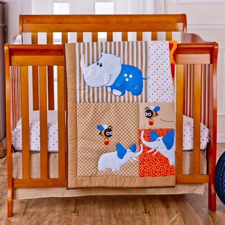 - Dream On Me Jungle Babies Reversible 2-Piece Portable Crib Bedding Set