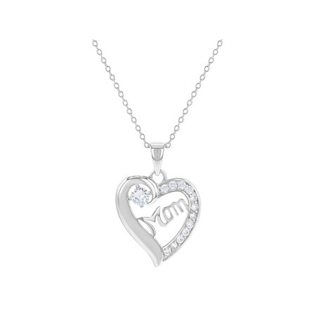 925 Sterling Silver Mom Pendant Necklace Heart Mother Gift Clear CZ 19