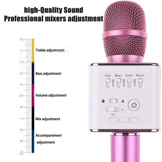 Karaoke Microphones Efficient Portable Wireless Microphone Pink Karaoke Player Bluetooth Speaker Usb And Digestion Helping Karaoke Entertainment