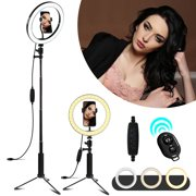 """Ring Light 10""""/8"""" with Tripod Stand Phone Holder for YouTube Video, Desktop Camera Led Ring Light for Streaming, Makeup, Selfie Photography, Bluetooth Selfie Stick Compatible with iPhone Samsung More"""