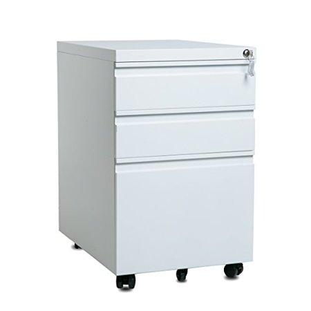JUMPER Locking File Cabinet 3 Drawers Wood Mobile Storage Cabinet Toys Storage Organizer, 24.4H