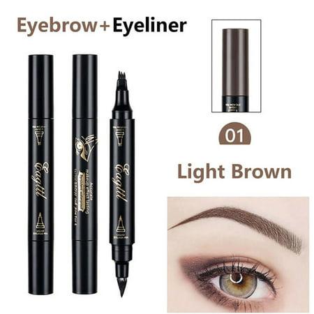 2 In 1 Makeup Tattoo Eyebrow Pen Waterproof Pencil Long Lasting Fork Tip