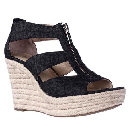 ceec4aa3bea Womens MICHAEL Michael Kors Damita Wedge Espadrille Sandals - Black Logo