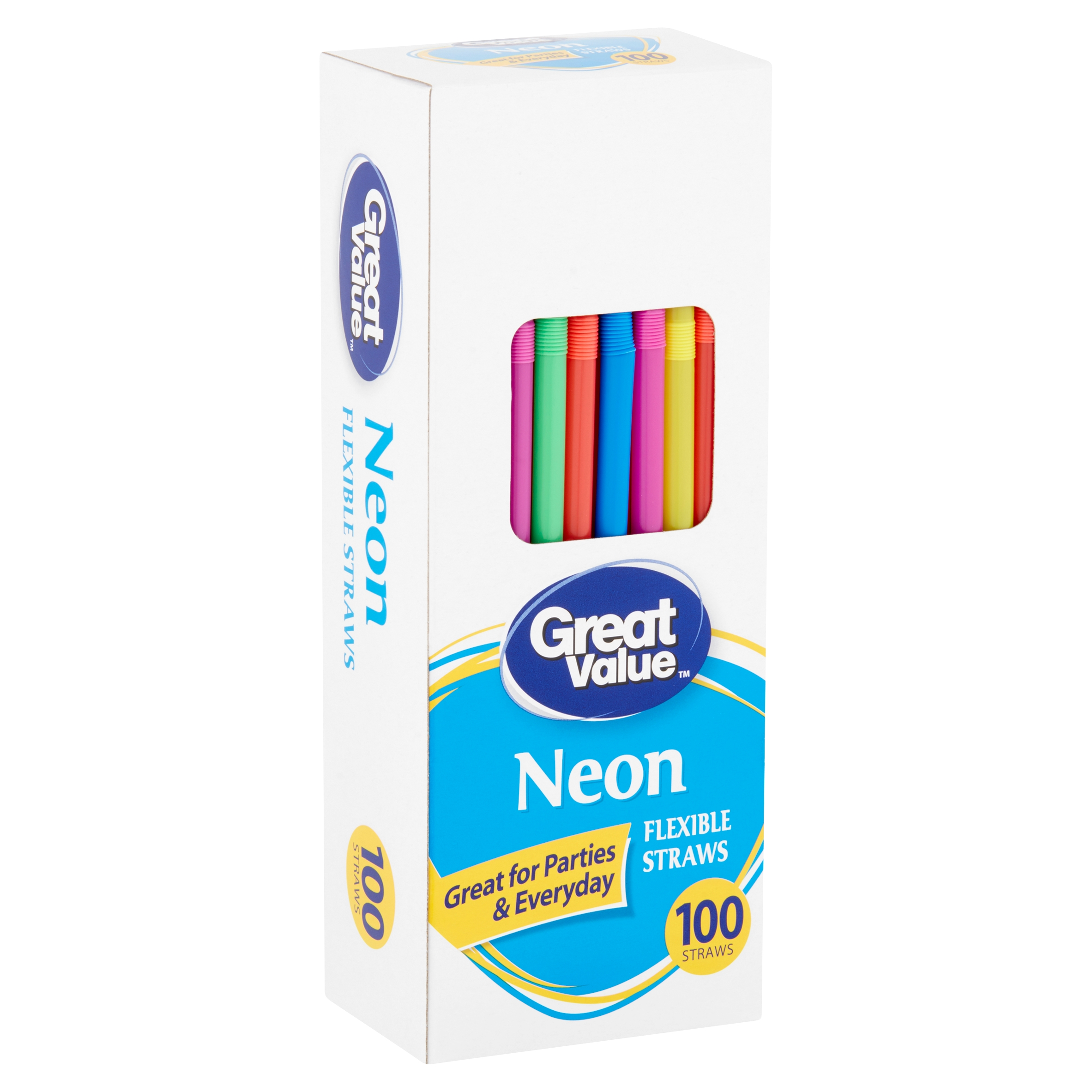 (2 Pack) Great Value Neon Flexible Straws, 100 count