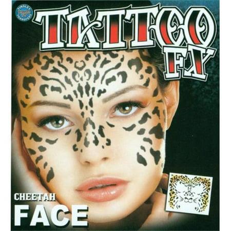 Morris Costumes DFFC500 Face Tattoo Cheetah Face (Cheetah Costume)
