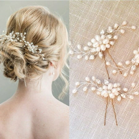 1PCS Women Golden Wedding Bridal Pearl Flower Leaves Crystal Hair Pins Clips New
