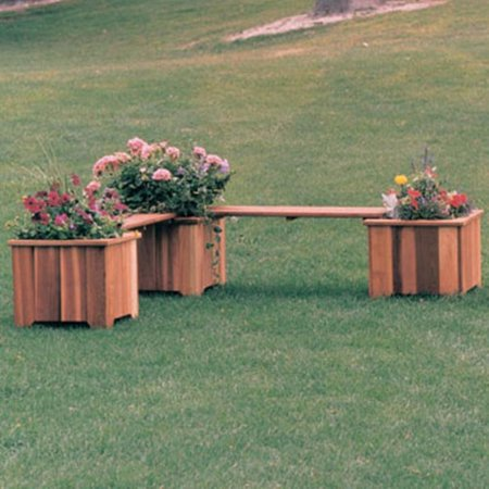 Wood Country Double 3-ft. Cedar Backless Planter Bench Cedar Creek Cedar Bench