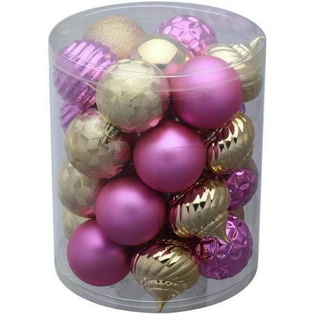 - Holiday Time 26-Pack Pink/Gold Matte Glitter Ornaments - Walmart.com