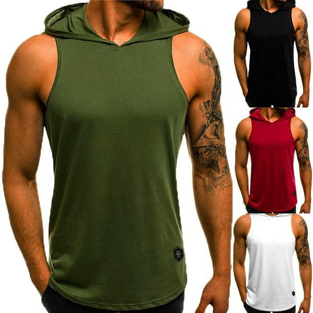 bodybuilding sweatshirts : Sport Mens Sleeveless Shirt Bodybuilding Hoodie Muscle Sweatshirt Hoody Tops