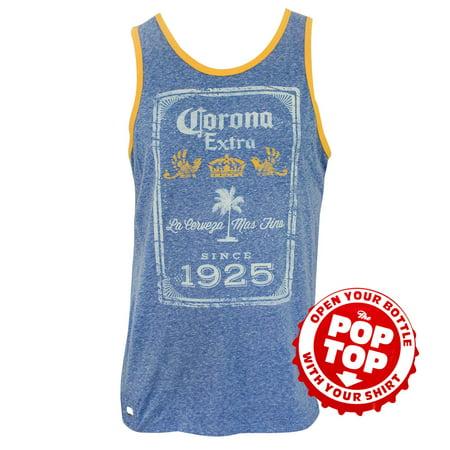 Corona Extra Mens Blue Since 1925 Pop Top Bottle Opener Tank Top