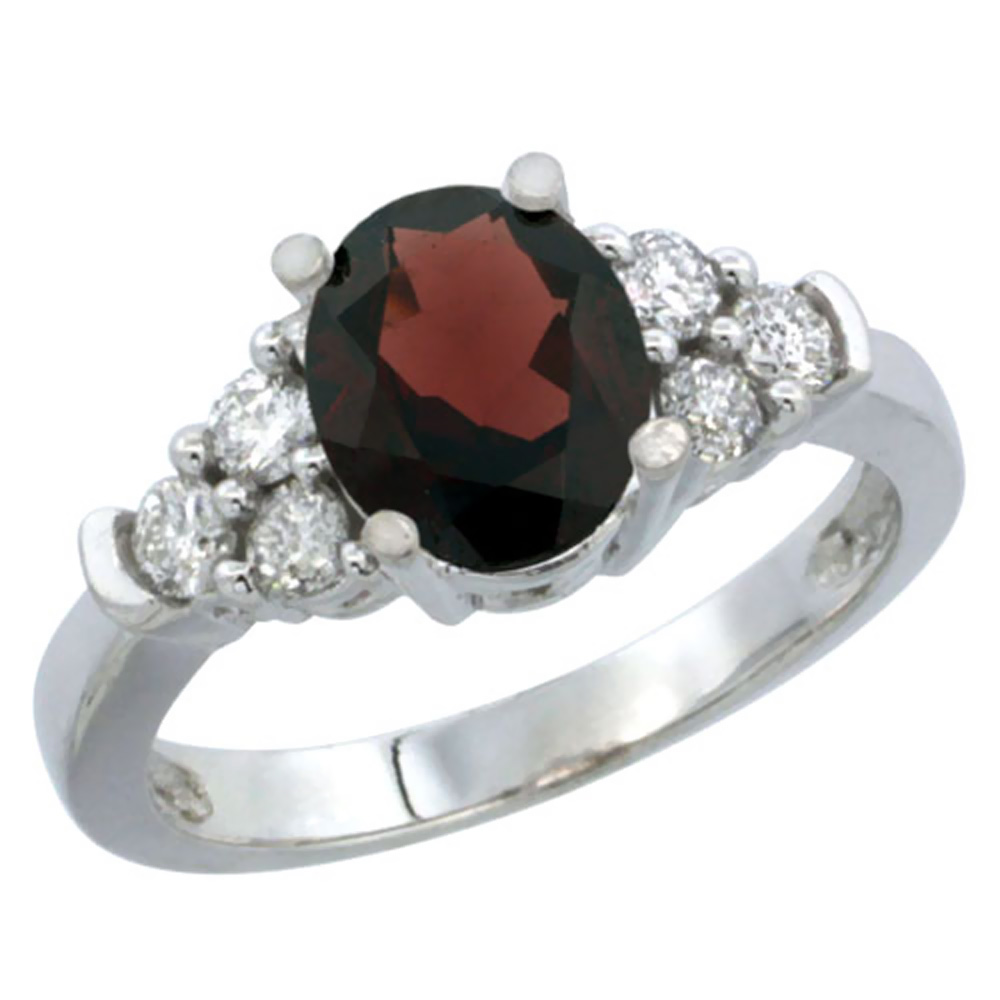 14K White Gold Natural Garnet Ring Oval 9x7mm Diamond Accent, size 5 by Gabriella Gold