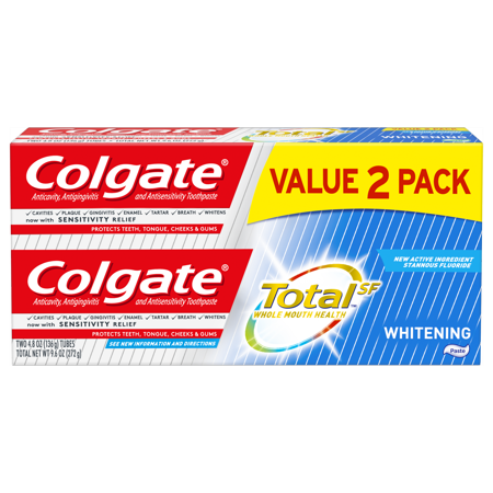 Colgate Total Whitening Toothpaste, 4.8 ounce (2 Pack)