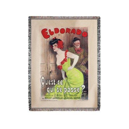 Eldorado   Quest   Ce Qui Se Passe  Vintage Poster  Artist  Redon  France C  1905  60X80 Woven Chenille Yarn Blanket