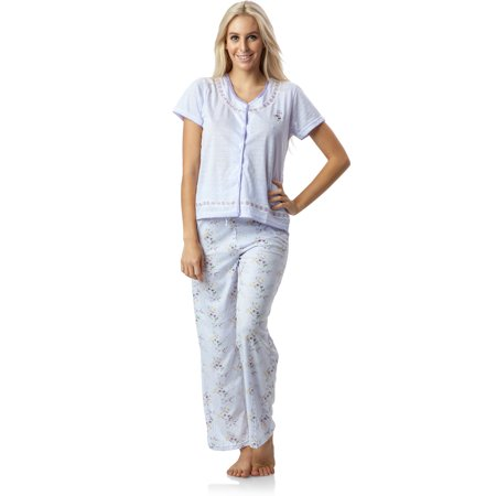 Casual Nights Women's Pointelle Short Sleeve Pajama Set - Pink Footie Pajamas