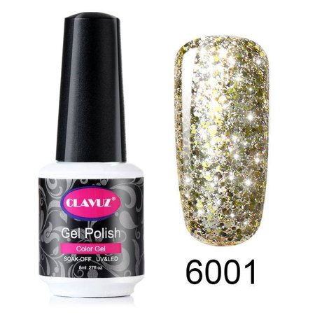 CLAVUZ Gel Nail Polish UV Soak Off Glitter Manicure Varnish Lacquer Starry Stars](Halloween Glitter Nail Polish)
