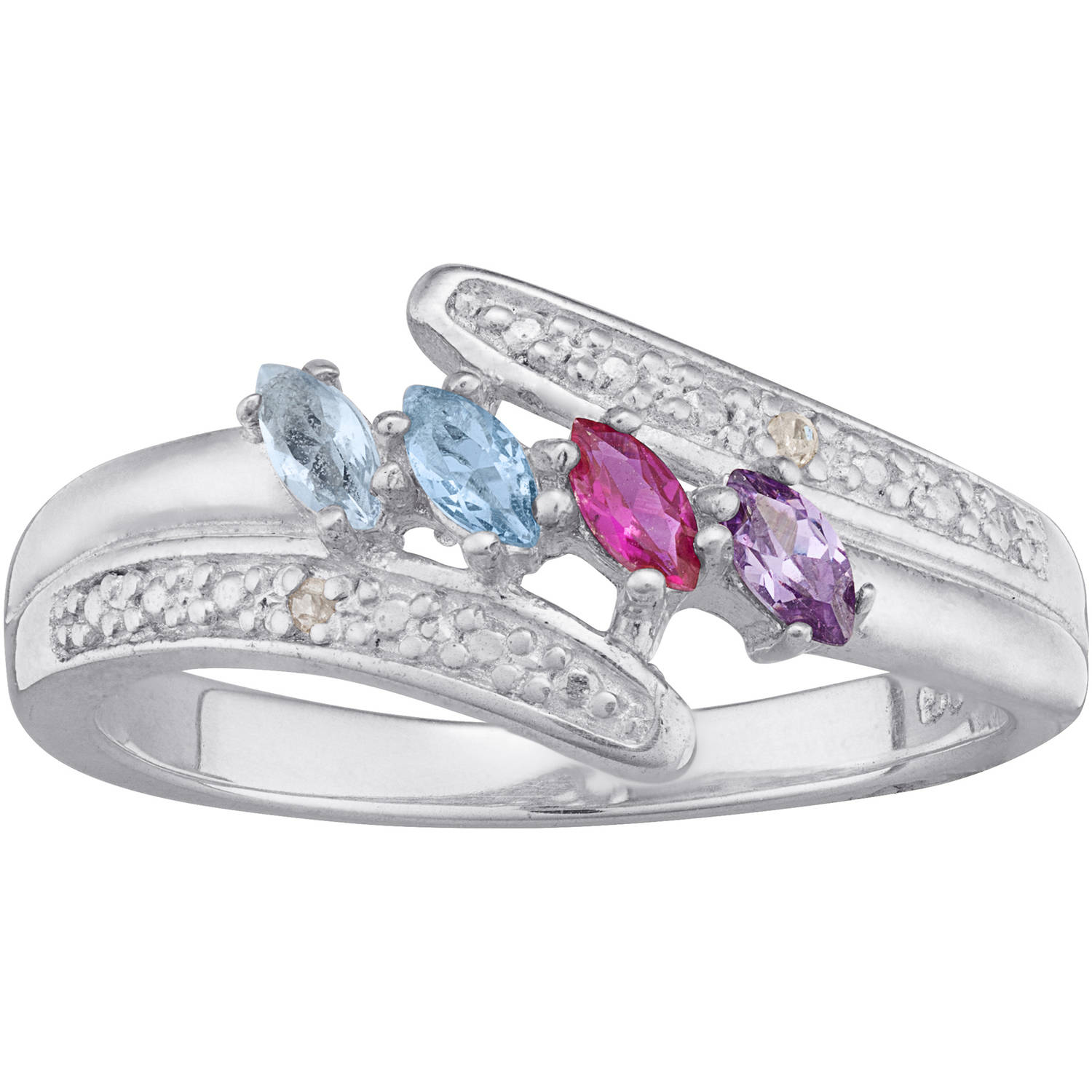 Personalized Sterling Silver Marquise Birthstone & Diamond Accent Mother's  Ring  Walmart