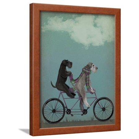 Schnauzer Tandem Framed Print Wall Art By Fab Funky