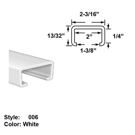 Food-Grade UHMW Plastic C-Channel Push-On Trim, Style 006 - Ht. 13/32