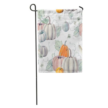 LADDKE Pattern Watercolor Pumpkins It is Thanksgiving Halloween Recipe Fall Harvest Garden Flag Decorative Flag House Banner 12x18 inch