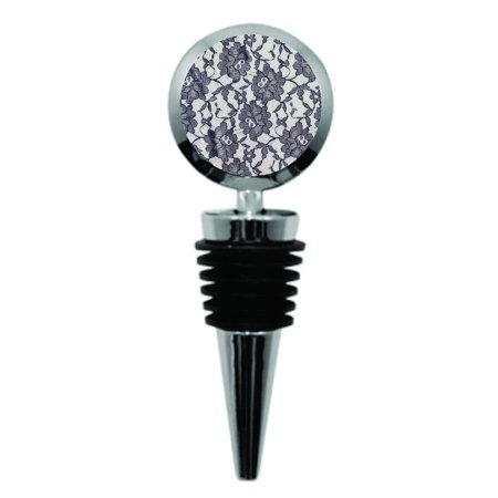 Elegant Black Lace Pattern Print Design - Metal Wine Bottle Stopper - Round (Metal And Lace Bar)