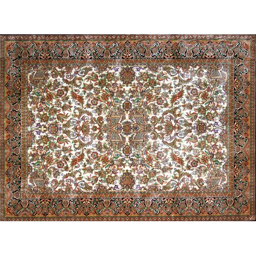 Astoria Grand Guardado Hand Look Persian Wool Ivory/Green/Brown Area Rug
