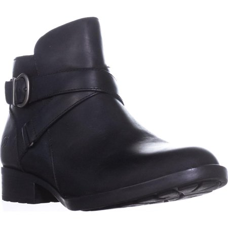 Womens Born Chaval Flat Casual Ankle Boots, Black Leather ()