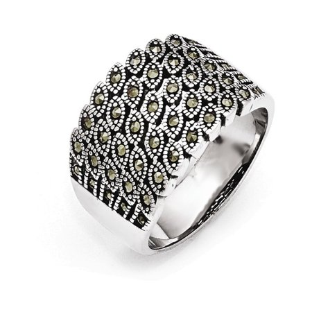 Stainless Steel Polished and Antiqued Marcasite Ring Size 7