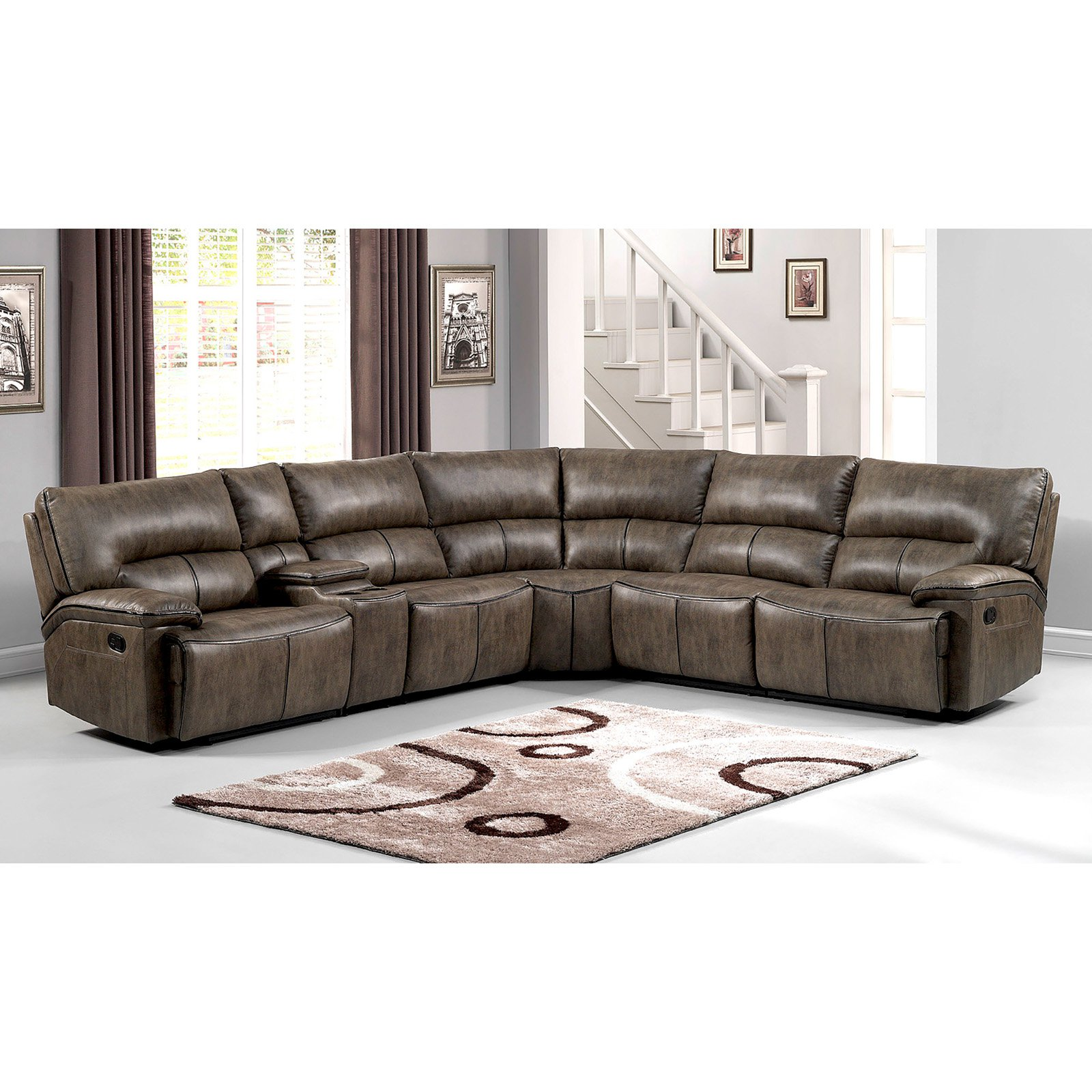 AC Pacific Donovan 6 Piece Sectional Sofa Set Walmart