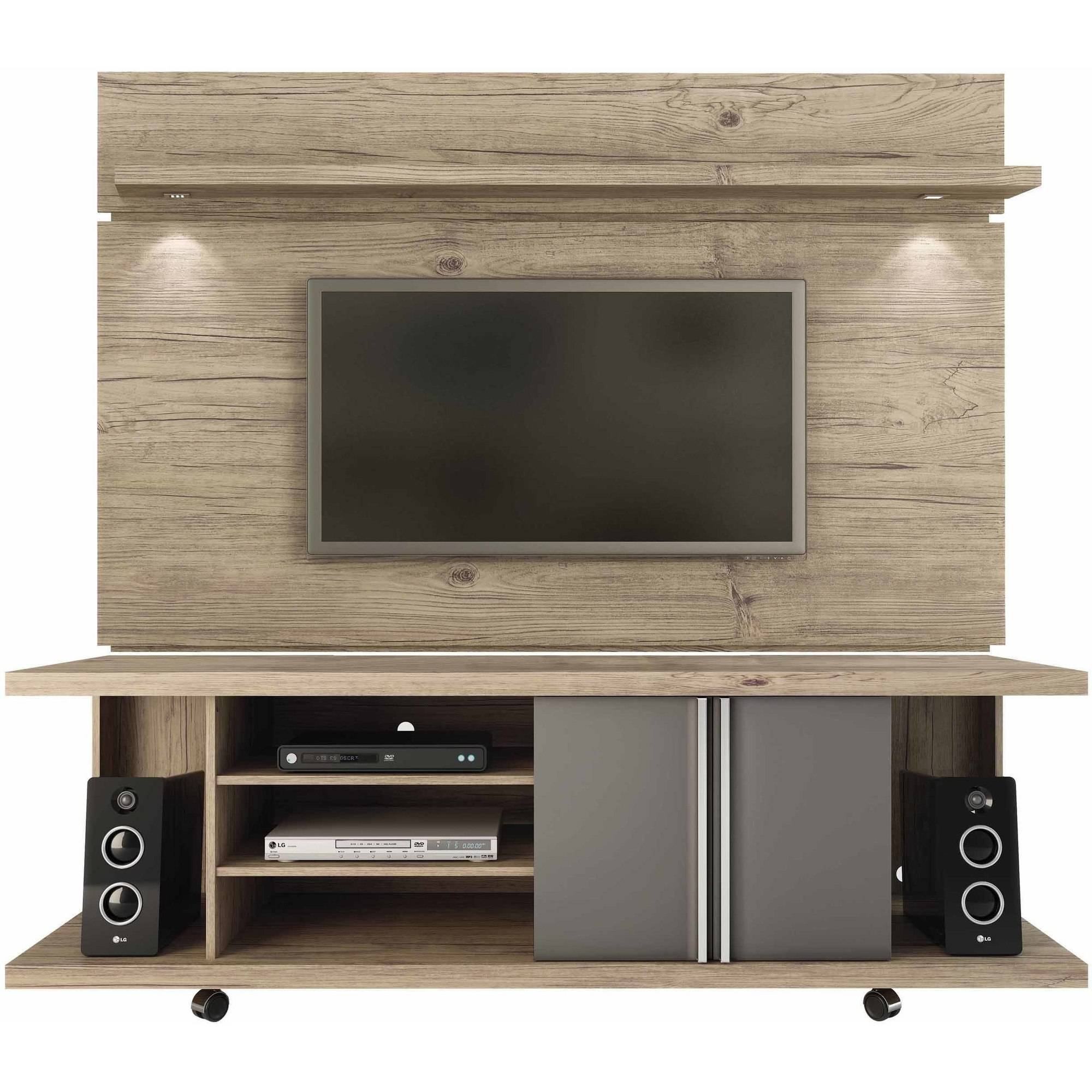 Manhattan Comfort Carnegie TV Stand and Park 1.8 Floating Wall TV Panel with LED Lights for TVs up to 60\