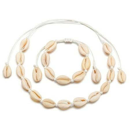 Fancyleo Bohemia Natural Sea Shell Beads Handmade Hawaii Beach Choker Adjustable Bracelet Necklace Anklet for Girls Ladies Beaded Shell Cross