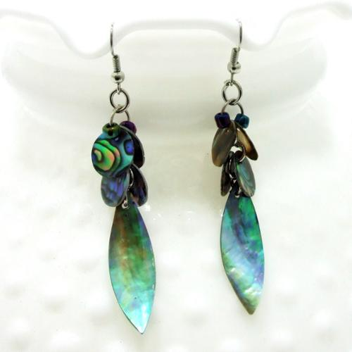 Aeravida Peacock Leaf Natural Abalone Shell Dangle Earrings (Philippines)