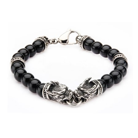 - Mens Stainless Steel Dragon Bite and Black Onyx Beads Bracelet 8 1/2 inch long