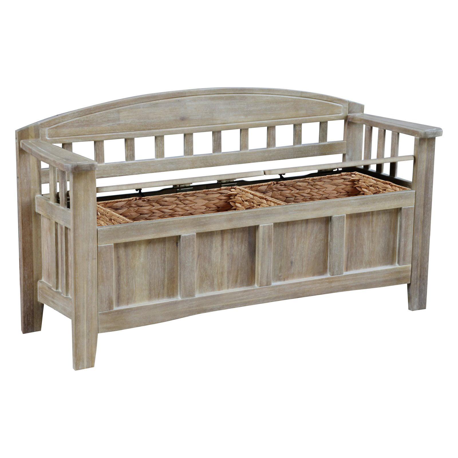 Linon Aria Storage Bench, Natural Wash, Ample Interior Storage Space