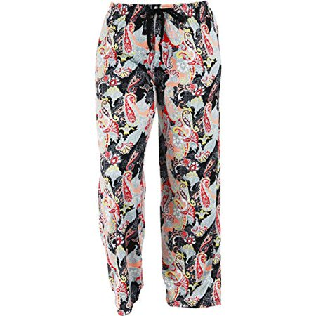 Hello Mello Trendy Womens Loungewear Pants with Luxurious Soft Fabric and Adjustable Elastic Waistband - Midnight Paisley - Small/Medium