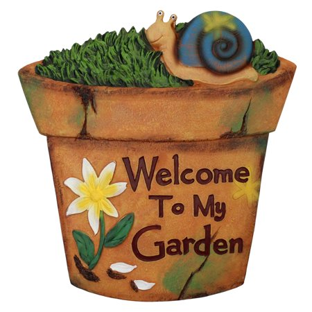 """10.5"""" Brown Flower Pot Outdoor Garden Stepping Stone with Snail"""